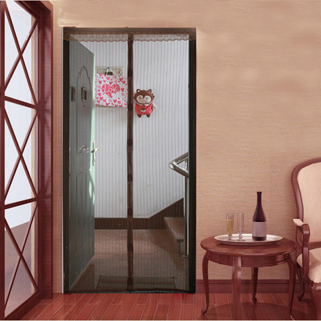 100*210;110*220;120*240 NEW Large Size Auti Mosquito Door Curtain Brown  Color Stripe Style Mosquito Nets With Magnets