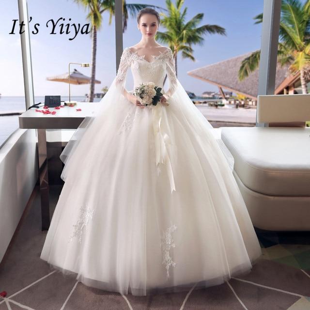 It s YiiYa Double Shoulder Lace Floor-length Wedding Dresses Off White  V-neck Brides Gowns Vestidos Deovia Casamento HX047 497afbcd9b0d