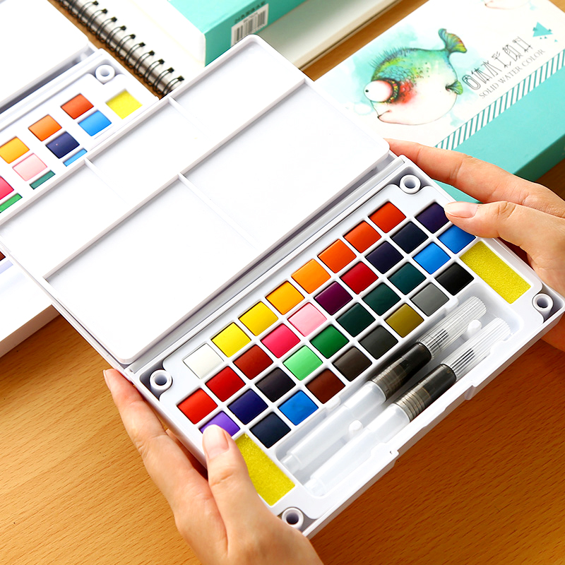 BGLN 18/24/36Color Solid Water Color Painting Set Box With Water Brush Bright Color Portable Watercolor Pigment Set Art SuppliesBGLN 18/24/36Color Solid Water Color Painting Set Box With Water Brush Bright Color Portable Watercolor Pigment Set Art Supplies