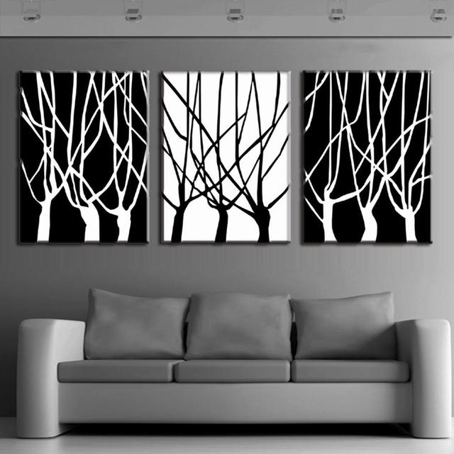 3 Pcs Set Framed Abstract Trees Painting Printed On Canvas Home Decor Simple Black And