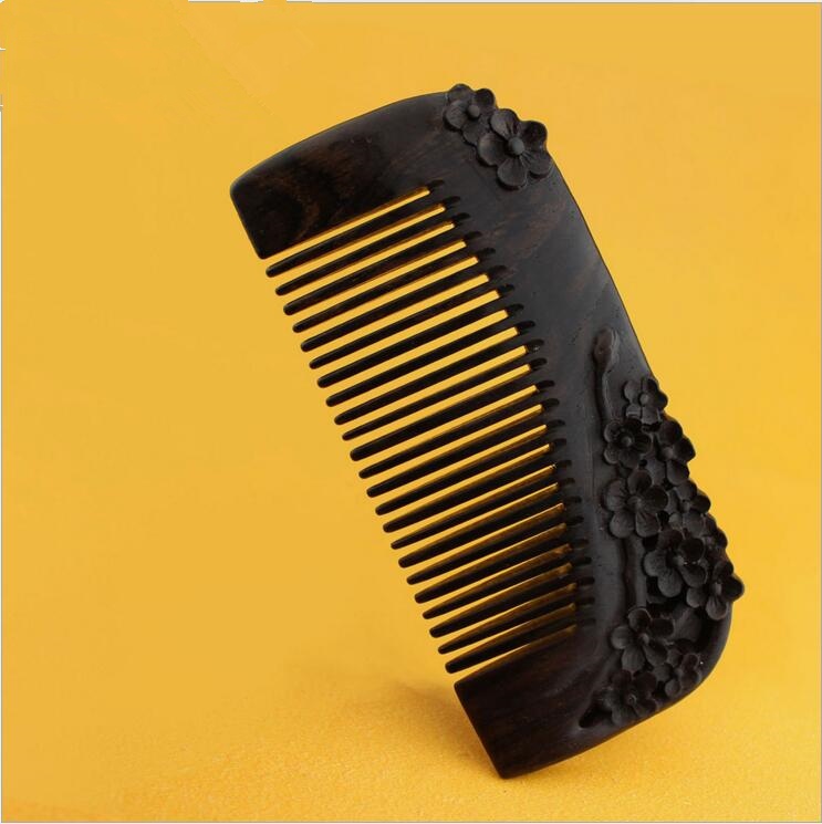 2017 Promotion Hairbrush Hight Quality 12.5cm Real Ebony Black Comb 1 Piece Health Care Hair Styling Tools Brushes Best Gift high quality scalp massage comb 3 color mixed hair hair curls comb send elders the best gifts health care tools