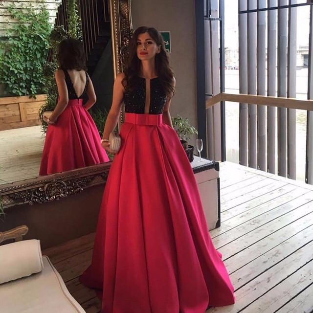 Vestido negro largo para boda de noche
