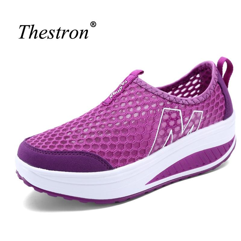 Thestron barato mujeres calzado deportivo verano femenino Deporte Zapatos aumentar zapatos de paseo transpirable mujeres zapatillas