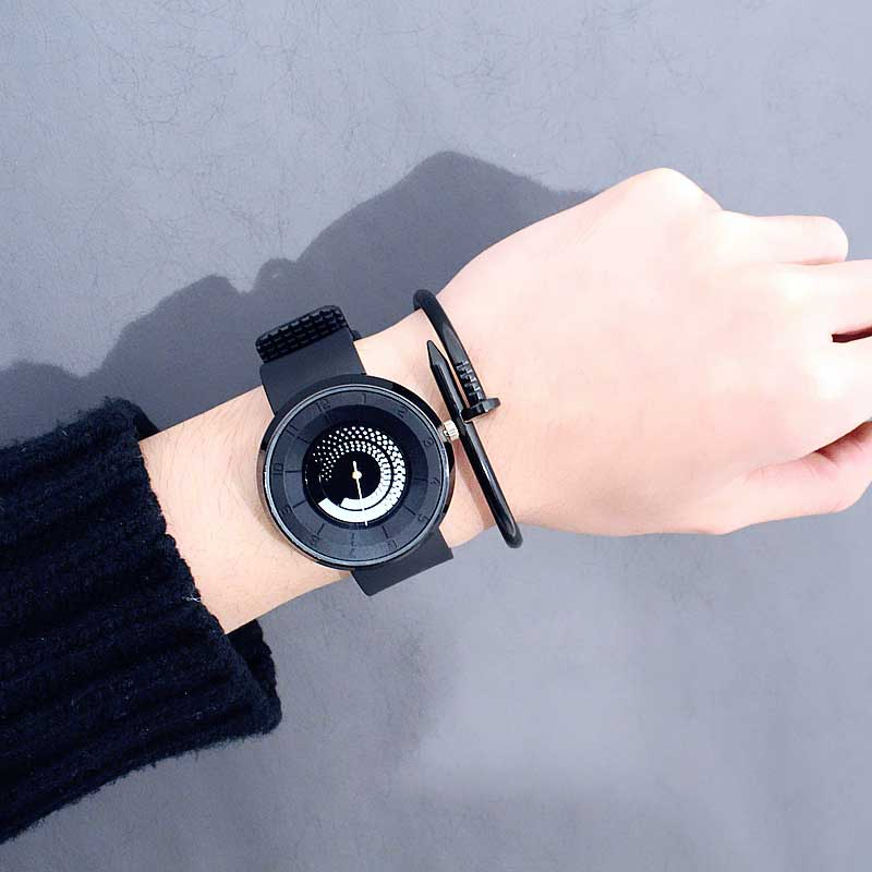 New Creative Rotation Turntable Woman Watches Silica Gel Strap Quartz Sport Watch Female Student Fashion Relogio Masculino