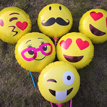 5pcs/lot 18 inch Emoji Face Expression Foil Ballon  Balloons Wedding Birthday Party Kids Toys Balloon