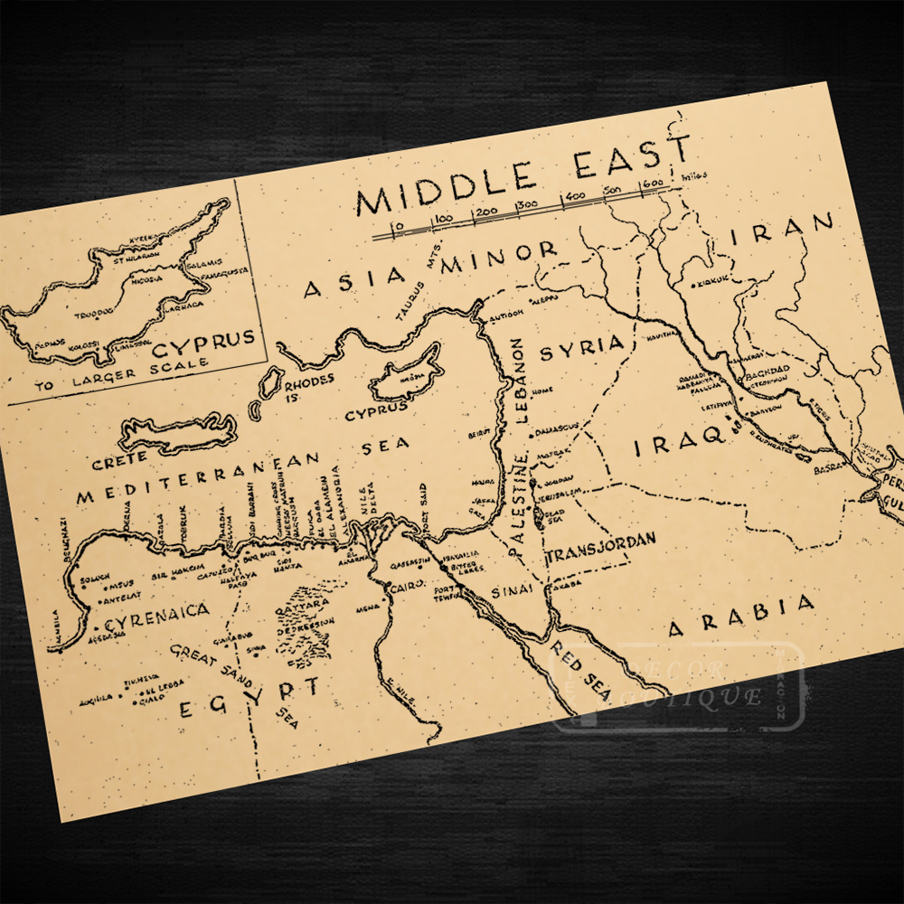 US $3.14 21% OFF|Middle East Asia Minor Iran Syria Map Classic Vintage  Retro Kraft Decorative Poster Maps Home Bar Posters Wall Canvas Sticker  De-in ...