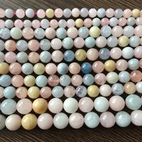Natural Stone Morganite Stone Round Bead No Dyed AA Quality 6 8 10 Mm Rare DIY
