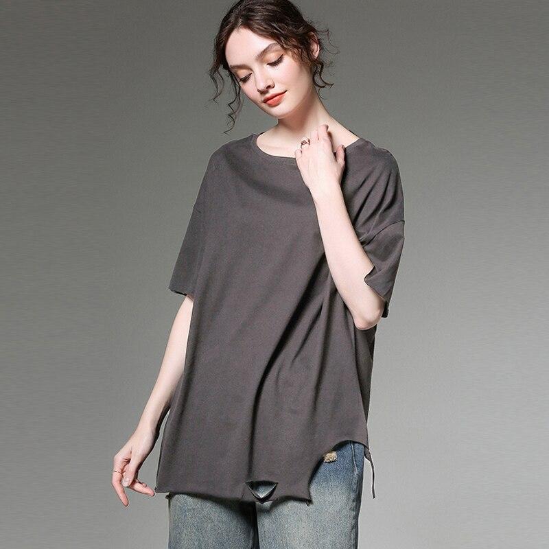 T-shirts en coton à manches courtes été grande taille femme solide noir blanc couleur unie décontracté été hauts t-shirts dame