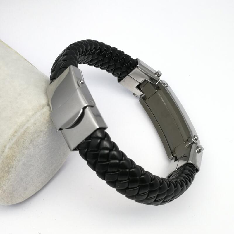 LOOKER Her King His Queen Stainless Steel Braided Leather Bracelet in Black Couple Jewelry For Him And Her Bangle Braslet in Wrap Bracelets from Jewelry Accessories