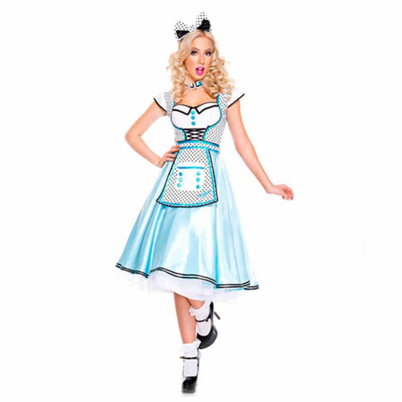 Для девочек семейная вечерние традиционный французский Горничная книга неделя костюм Хэллоуин ребенок Алиса в стране чудес фантазийный платье