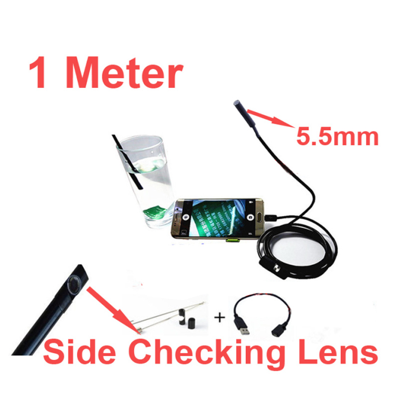 1Meter 640x480 5.5diameter head endoscope camera Android OTG function video checking endoscope camera with side lens