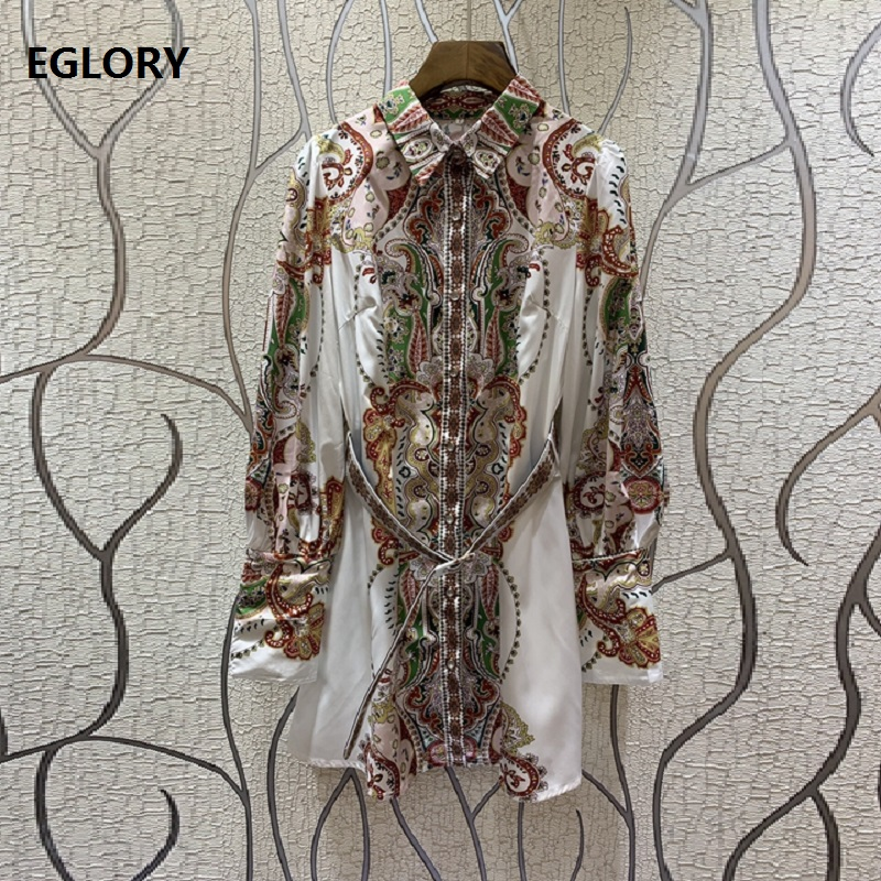 New Celebrity Inspired Women's Dress 2019 Summer Ladies Turn down Collar Ethnic Print Full Sleeve Casual Long Shirt Dress Ladies