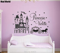 Mad World PERSONALISED Name PRINCESS CASTLE HORSE Wall Art Stickers Wall Decal Home Decoration Removable Decor