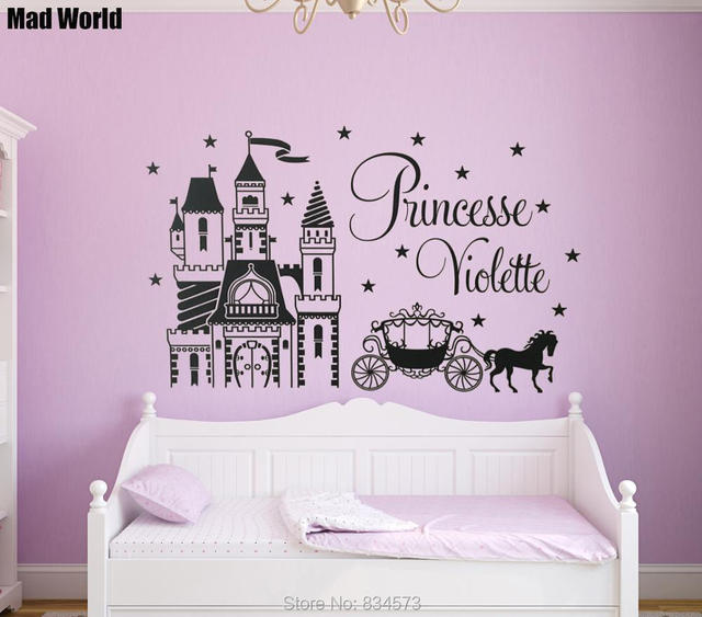 Personalized custom name princess castle horse wall art stickers wall decal home diy decoration removable decor