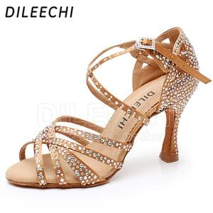 Image 5 - Женские туфли для латиноамериканских танцев DILEECHI, черные атласные туфли с блестящими бронзовыми стразами, вечерние бальные туфли для сальсы, каблук 9 см