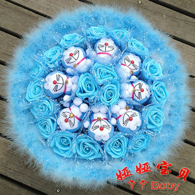 Free shipping manual blue flowers doraemon cartoon bouquet best wedding Birthday Vientines Day gifts feather flower G95