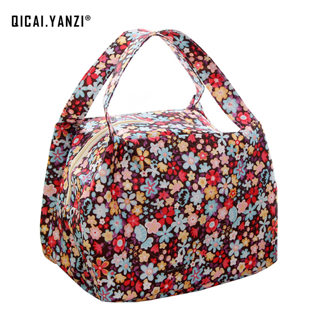 qicaiyanzi 2017 New Protable Lunch Bag Flowers Storage Box Insulated Thermal Pouch Bento Cooler Picnic Tote