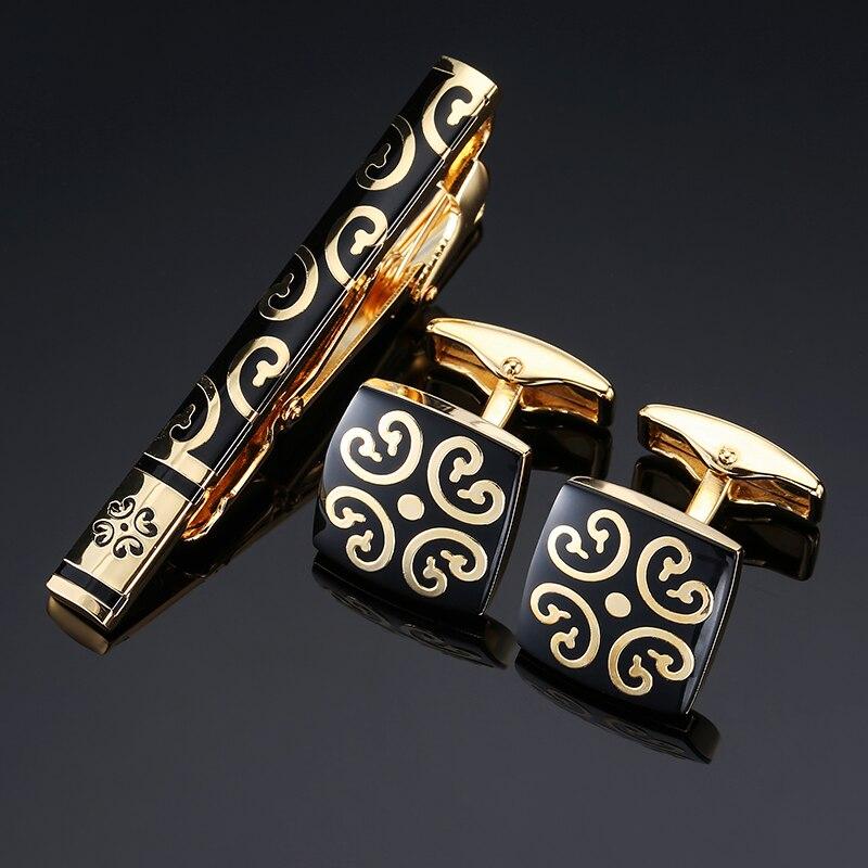 70edb3708569 Men's jewelry Cufflinks Tie Clip Set Tie Bar golden flower Metal Necktie  Tie Bar Clasp Tie Clips & Cufflinks Sets Gold jewelry
