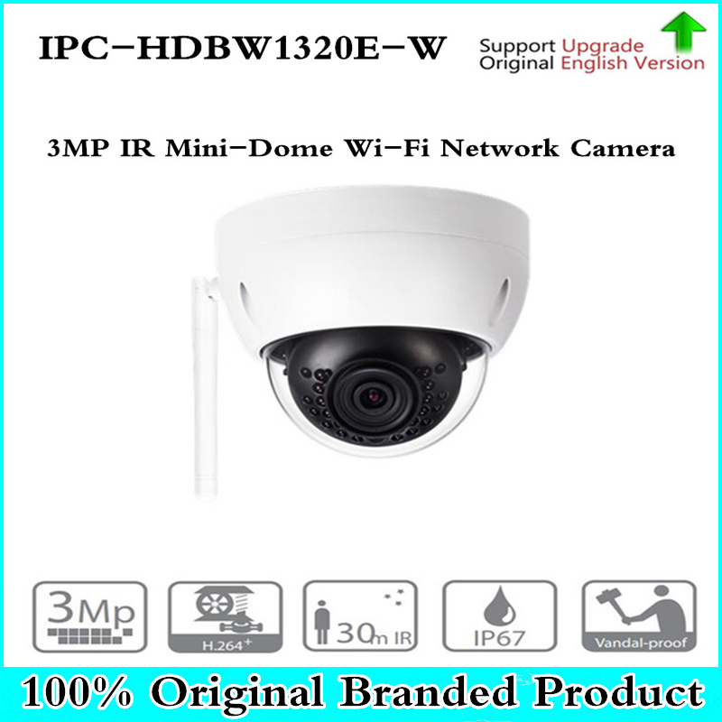 DH 3MP IR Mini Dome WiFi Network IP Camera IPC-HDBW1320E-W Wireless Security Camera 3MP IR 30m Waterproof Camera dahua 3mp ir waterproof