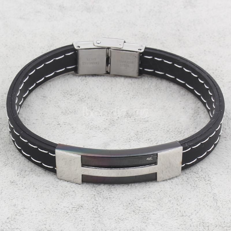 Drop shipping!!!Silicone BraceletsKorean Stainless Steel with Silicone plated plating 38x12x5mm Sold Per Approx 7.5 Inch Strand