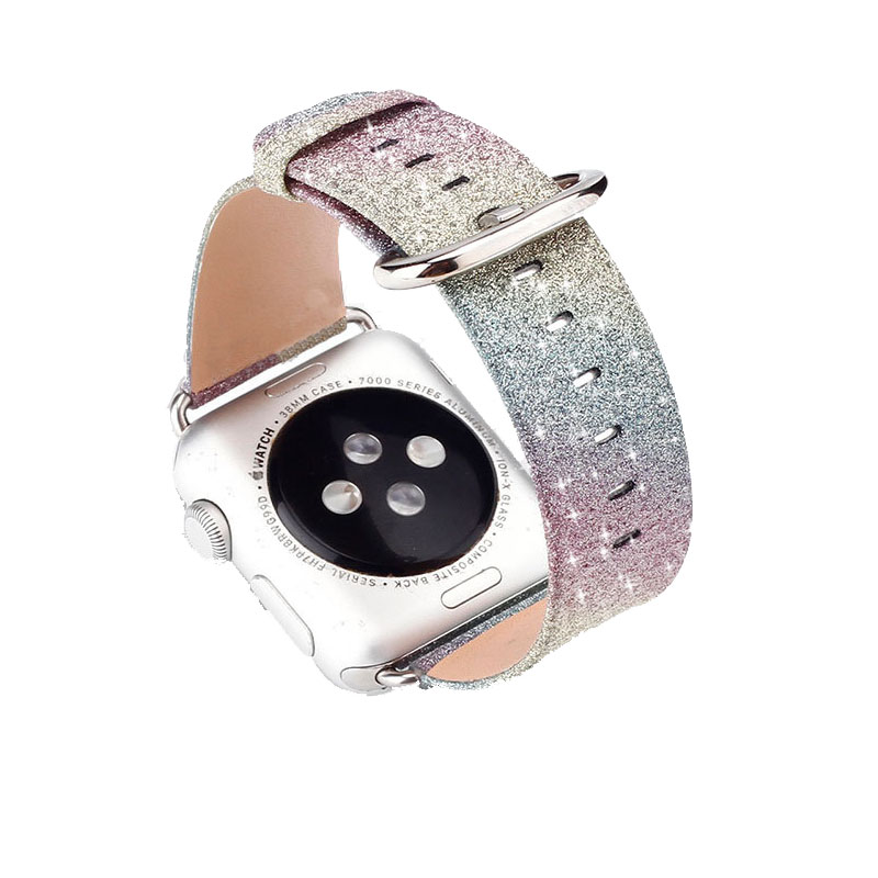 Leopard Regenbogen Bling Glitter Leder Band für Apple Uhr Serie 1 2 3 Band 42mm 38mm Armband für iWatch Armband