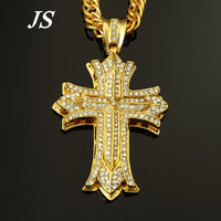 Js 90 cm hip hop rapper cross hanger mannen chunky 24 k goud verzilverd cubaanse ketting mannelijke kostuum sieraden gift HN006