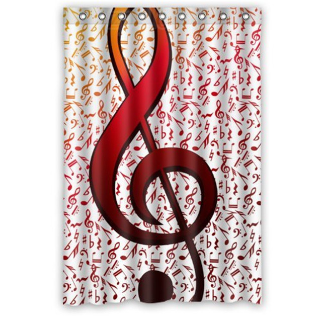 48es Fancy Music Cool Fire Notes White Shower CurtainShower Nice Choice For Bathroom