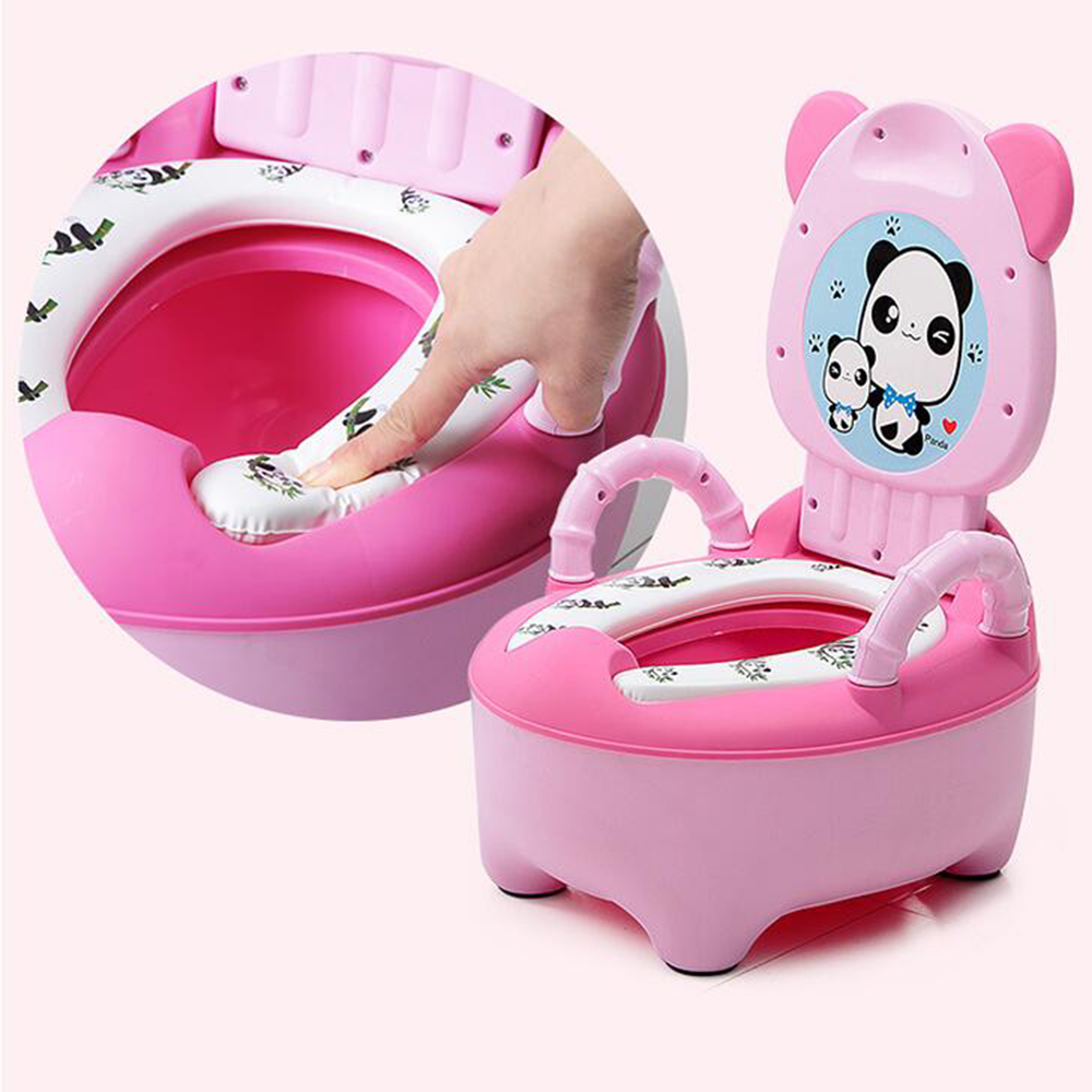 New Portable Baby Potty Toilet Seat Cute Cartoon Panda Soft Kids Potty Training Seat Children's Folding Backrest Pot Toilet