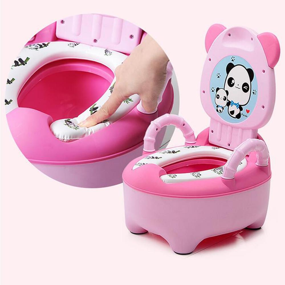 New Portable Baby Potty Toilet Seat Cute Cartoon Panda Soft Kids Potty Training Seat Children's Folding Backrest Pot Toilet