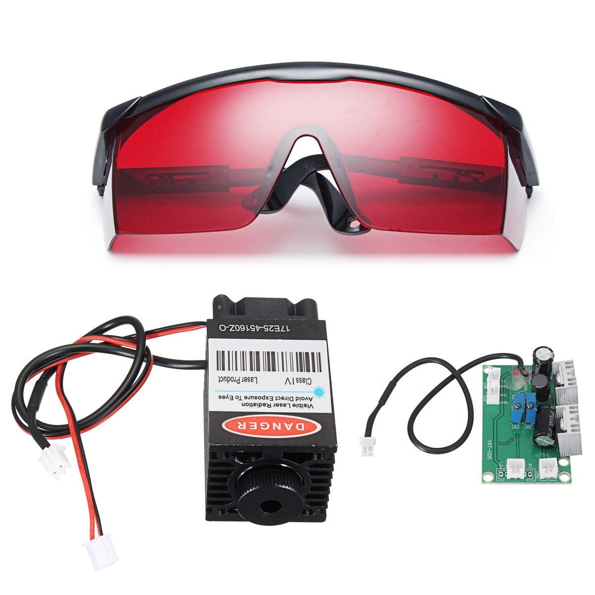 2500mW Blue Laser Head Engraving Module Marking Diode + Glasses For CNC Engraver
