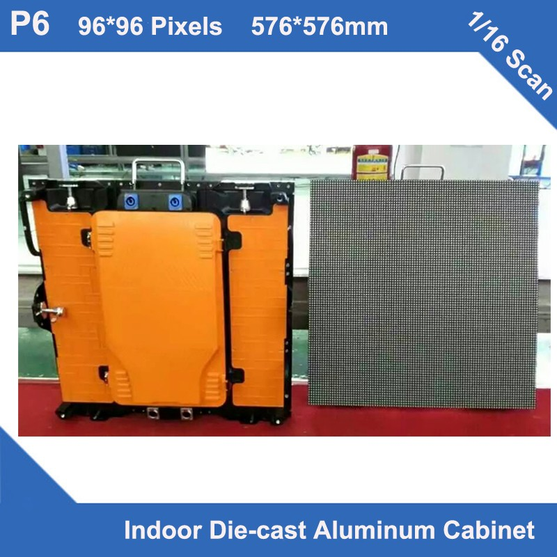 TEEHO 6pcs/lot P6 Indoor Full Color Led Display Diecasting Cabinet Panel 576mm*576mm Slim Rental 1/16 Scan Panel Sign Led Screen