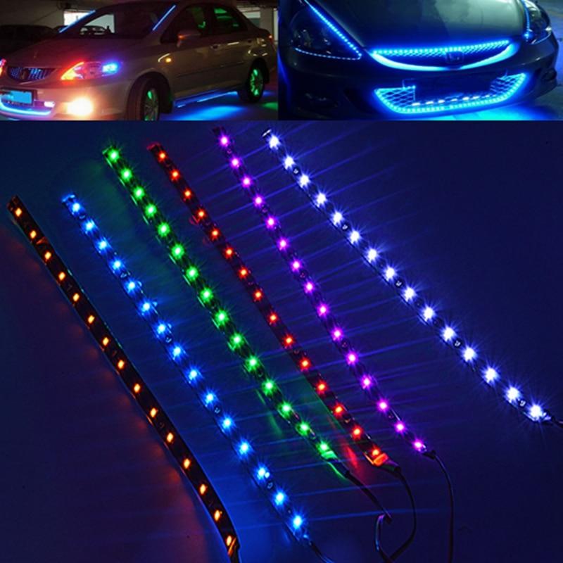 waterproof 30cm smd 3528 15 led flexible car strip light bulb dc 12v underbody red blue. Black Bedroom Furniture Sets. Home Design Ideas