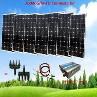 700W Solar Panel Plate Sunpower Monocrystalline Silicon Cell Module Kit: 7X100W Solar Panel with 1000W grid tie inverter