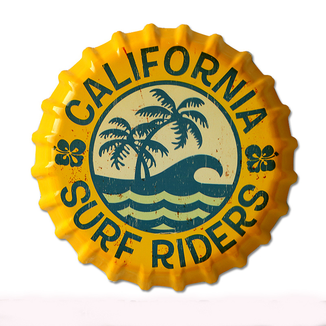 35cm California Surf Riders Vintage Tin Signs Bar Lounge Culb Wall Decor Metal Beer Bottle Caps