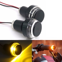SITAILE 2Pcs Motorcycle Turn Signal Amber LED Handle Bar End Indicator Grip Plug Light for