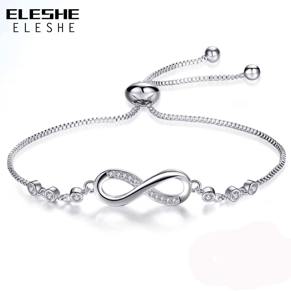 ELESHE 2018 New Fashion CZ Crystal Infinity Bracele