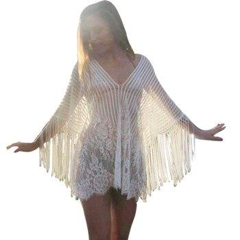 0b07792b1 Nueva moda de playa traje de baño Cover-Las mujeres Crochet delantal con  flecos traje de saida de banho praia tunicas de playa bikini