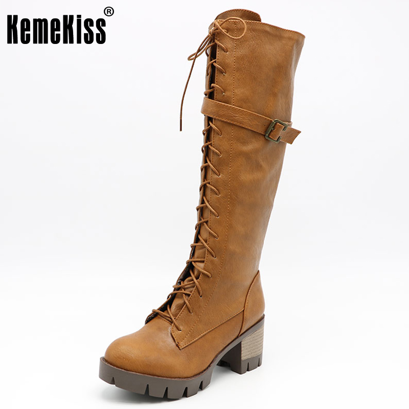 KemeKiss Women Platform Round Toe Knee Boots Woman Vintage Cross Strap Square Heel Shoes Ladies Fashion Knight Botas Size 34-43 women round toe ankle boots woman fashion platform wedge botas ladies brand suede leather high heel shoes footwear size 34 47