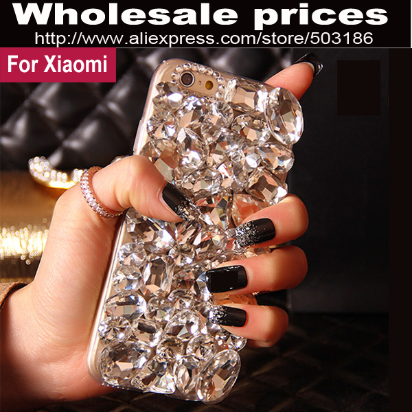 imágenes para Hermoso de Lujo Big Diamond Rhinestone cubierta de la caja de Cristal Para Xiaomi Redmi Nota 1 s 2 3 4 3X Pro Mi3 Mi4 Mi5 Mi Max Mix 5S Prime