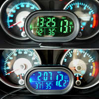 Automobiles Clock Thermometer Car Ornament Dashboard LED Lighted Watch Dual Temperature Gauge Voltmeter Voltage Tester 12-24V