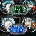 Automobiles zegar termometr ozdoba samochodu deska rozdzielcza z podświetleniem led zegarek podwójny wskaźnik temperatury woltomierz/napięciomierz 12-24V