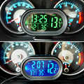 Autos Uhr Thermometer Auto Ornament Dashboard LED Beleuchtete Uhr Dual Temperatur Gauge Voltmeter Spannung Tester 12-24 v