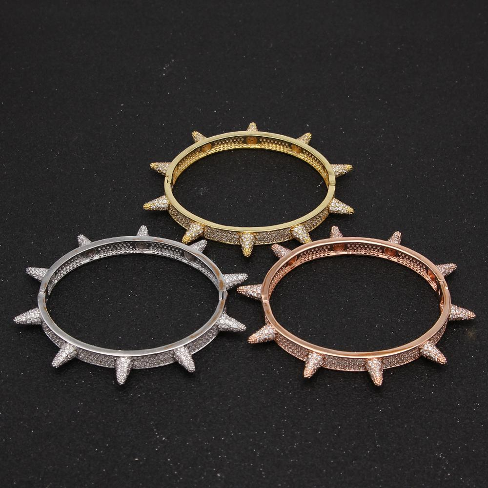 New Arrival Hip Hop Women Men Rose Gold Bling Jewelry Micro CZ Stone Full AAA Zircon Rhinestones Rivet Bracelets Steel Bangles