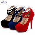Crossdresser Plus Size: 35-44 45 primavera/outono sola vermelha 14 cm fina salto alto de casamento das mulheres bombas de Camurça senhoras sapatos Cosplay