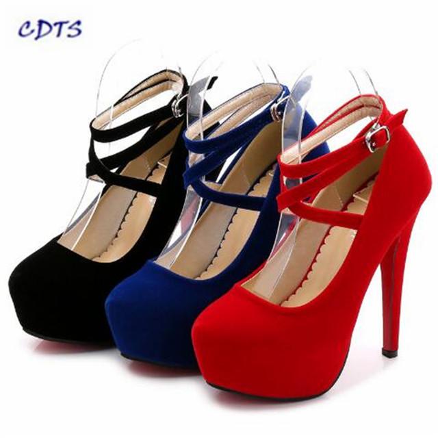 Crossdresser Plus size: 35-44 45 primavera/otoño rojo único 14 cm altos talones finos de las mujeres de la boda bombas de Gamuza damas zapatos de Cosplay
