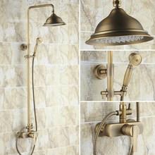 Juego de grifería de ducha de lluvia redonda de 8 pulgadas con manija única de latón antiguo Vintage mrs171