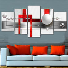 5 pieces white spherical prints canvas art abstract painting