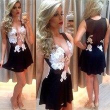 New white lace transparent cocktail dress sexy dress frauen sleeveless plus größe appliques kurze formale party dress