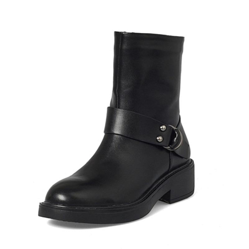 Mayor Calle Al Bajo 2018 Estilo Tacón Genuino De Zapatos Por Confort Botas Mujer Cuero La Ocio Negro Venta Lapolaka xEIvqWEa