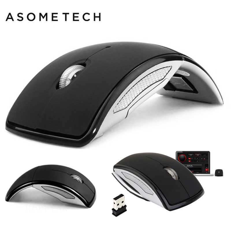 2.4G Wireless Foldable Mouse Travel Computer PC Optical Mini Mute Mouse Mice W/ USB Nano Receiver For Laptop Desktop Notebook